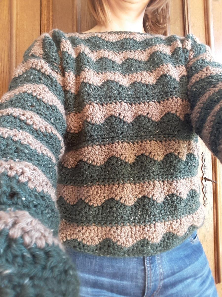 Mijn gehaakte trui is ouderwets